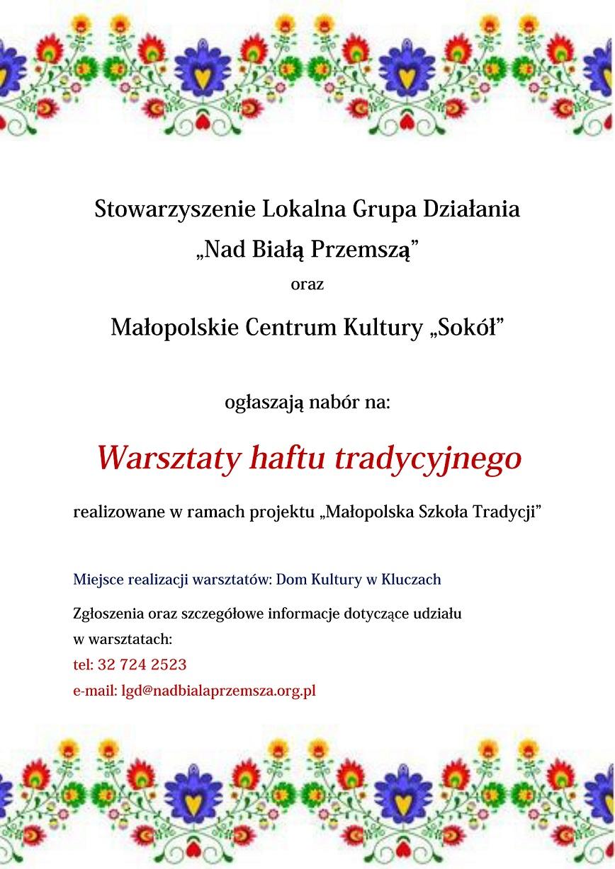 Zapraszamy do udziału w Warsztatach Haftu Tradycyjnego!